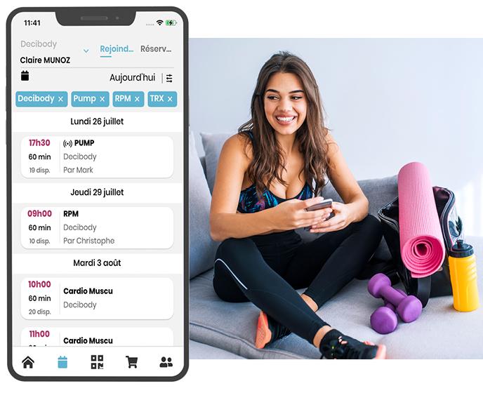 Deciplus, logiciel de gestion pour les salles de fitness, salles de sport - réservation en ligne des cours de fitness