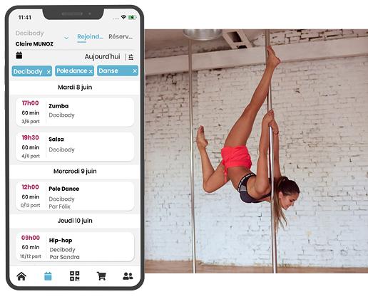 Deciplus, logiciel de gestion pour les écoles de danse et studios de pole dance - réservation en ligne